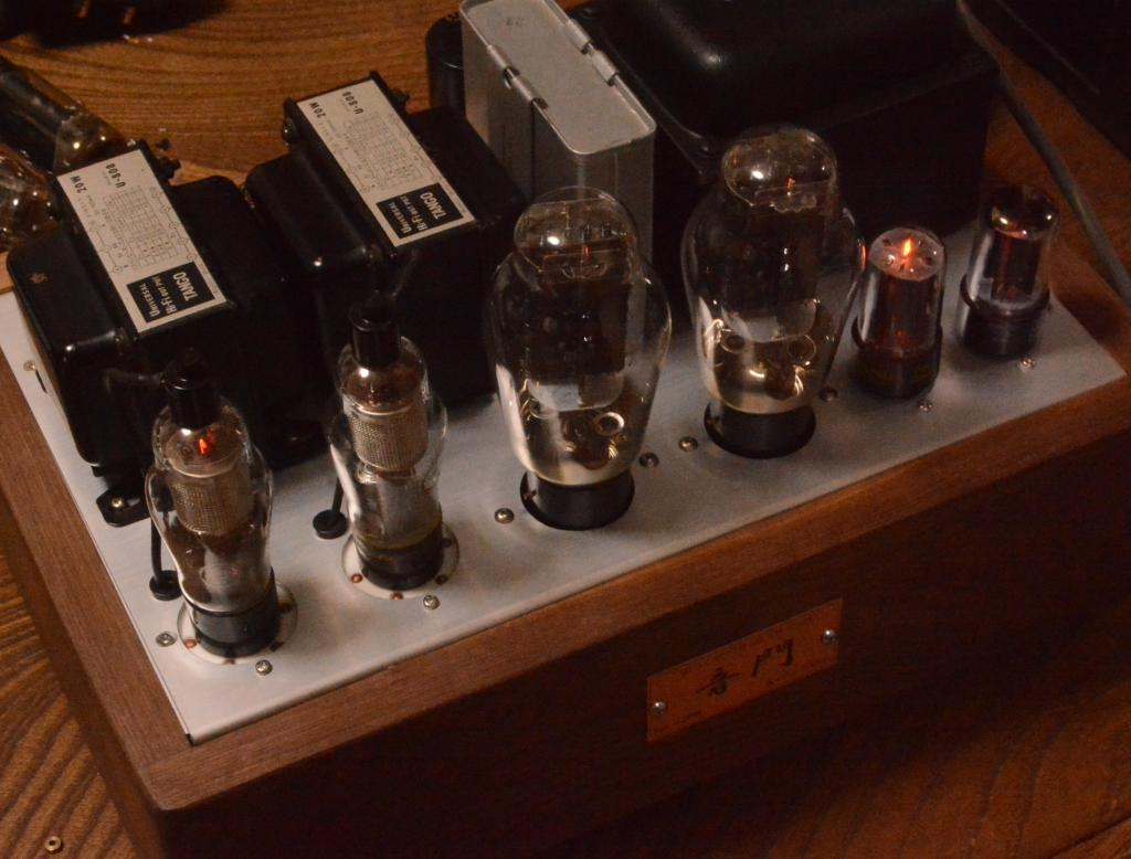 WE91B type 300B SE stereo tube amplifier with 50s year WE wiring, Walnut case  100V input