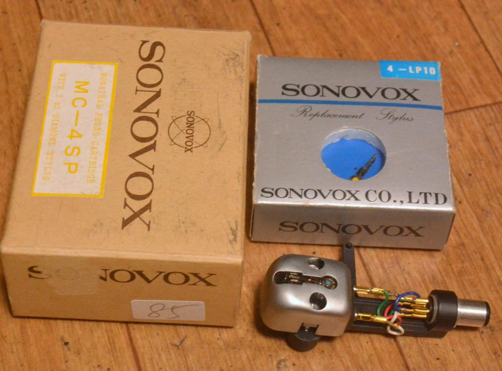 50s year early Sonovox MC-4 mono cartridge for professional with new stylus LP and SONY carbon shell