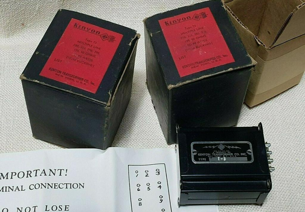 40s years NEW Pair of KENYON T-3 input, step up transformer * Perfect sound