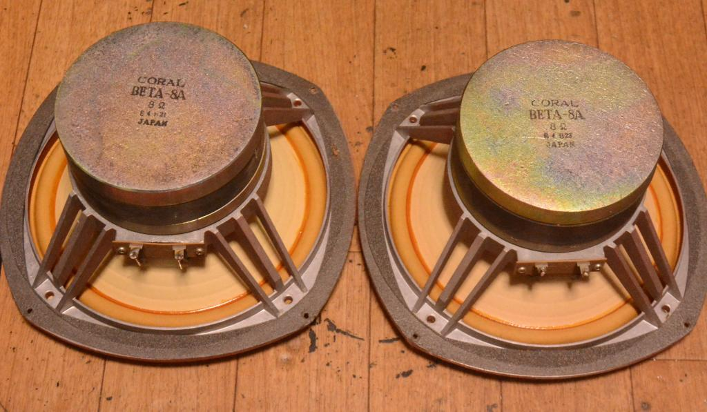 70s year PAIR Coral Beta 8A speaker 20cm double cone unit full range * Legend !
