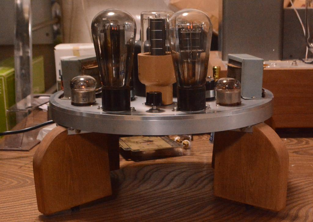 46 SE tube amplifier with all  Sachsenwerk transformer driving tube 717A